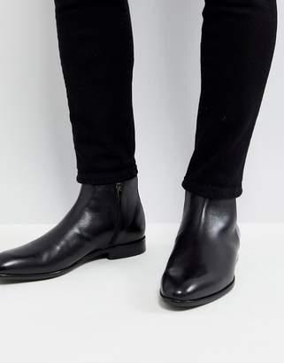 HUGO Leather Zip Boots in Black