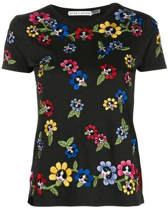 Alice + Olivia (アリス オリビア) - Alice+Olivia embroidered floral T-shirt