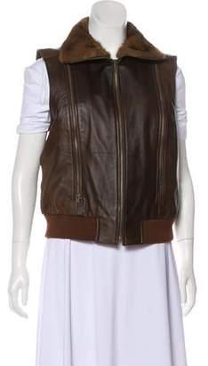 Etcetera by Edmond Chin Fur-Trimmed Leather Vest