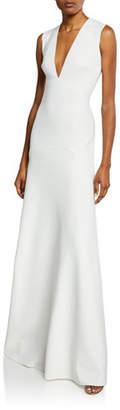 SOLACE London Seine Plunge-Neck Sleeveless Trumpet Dress