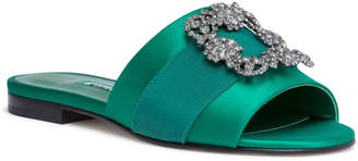 Manolo Blahnik Martamod emerald satin slip-on flats