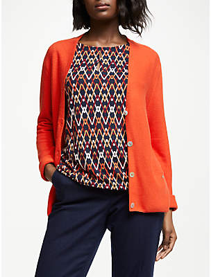 Gerry Weber Cotton V-Neck Cardigan, Flame Melange
