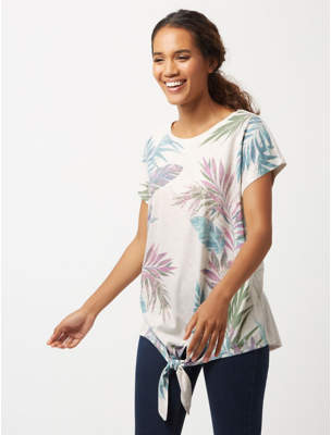 George Cream Leaf Printed Tie Hem Top