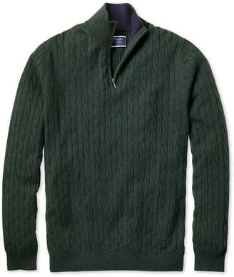 Charles Tyrwhitt Green Zip Neck Lambswool Cable Knit Sweater Size Medium