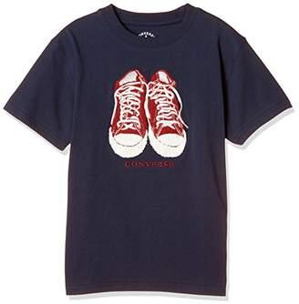 Converse (コンバース) - [コンバース]サガラ刺しゅうTシャツ(8221-4103) ボーイズ ネイビー 日本 130 (日本サイズ130 相当)