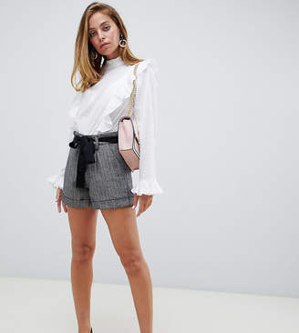 Lost Ink Petite City Shorts With Tie Waist
