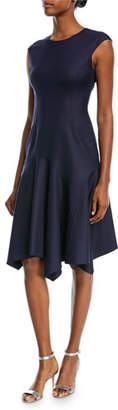 Michael Kors Cap-Sleeve Stretch-Silk Crepe Dress w/ Handkerchief-Hem