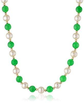 14k Yellow Gold Jade and Freshwater Cultured Pearl Strand Necklace