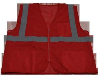 Petra Roc RVM-S1-S-M 2 in. Red Mesh Vest Reflective Tape 3 Pockets Zipper Front, Small & Medium