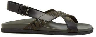Valentino Vltn Canvas And Leather Sandals - Mens - Green