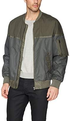 French Connection Men's Patchwork Carbon Wax Coating Bomber Jacket