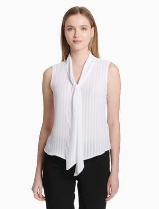 Sleeveless Tie Neck Blouse Shopstyle