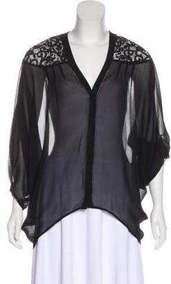 Twelfth Street By Cynthia Vincent Lace-Trimmed Silk Blouse