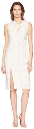ADAM by Adam Lippes Windowpane Wool Sheath Dress w/ Knot Detail Women's Dress