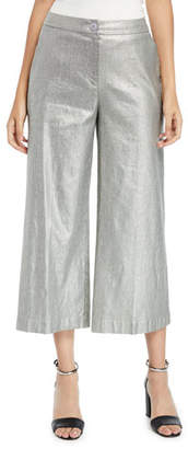 Eileen Fisher Metallic Wide-Leg Cropped Linen-Cotton Pants