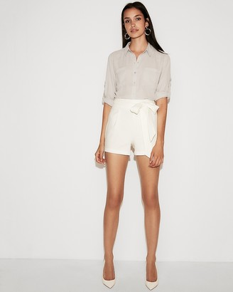 Express High Waisted Side Tie Linen-Blend Shorts