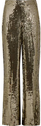 Alice + Olivia Racquel Sequined Satin Wide-leg Pants