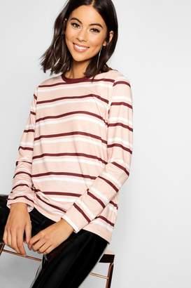 boohoo Stripe Long Sleeve Ringer T-Shirt