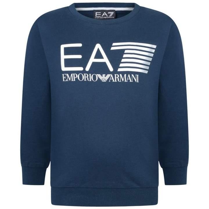 EA7 Emporio ArmaniBoys Navy Logo Print Sweater