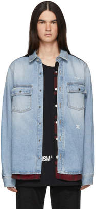Off-White Blue and Red Denim Reconstructed Shirt