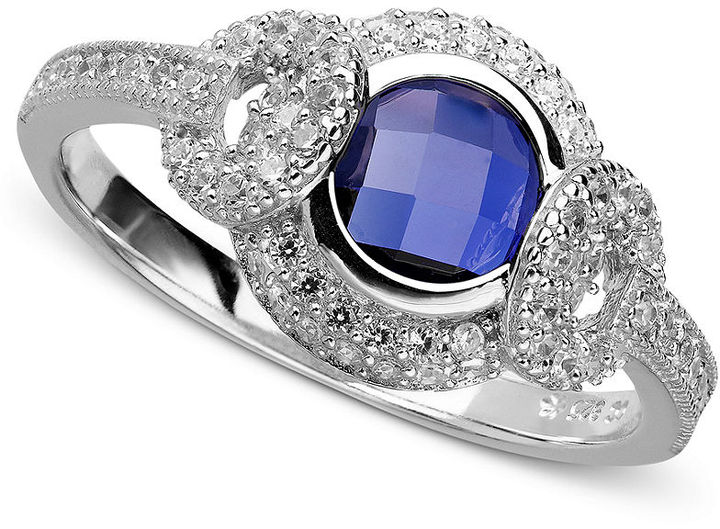 Crislu Ring, Platinum Over Sterling Silver Sapphire Cubic Zirconia Ring (1-1/4 ct. t.w.)