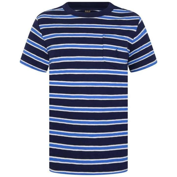 Ralph LaurenBoys Navy Striped Pocket Top