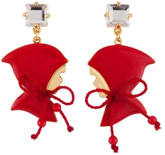 Les Nereides N2 by INTO THE WOODS LITTLE RED RIDING HOOD PROFILE EARRINGS - Red - OS