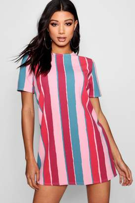boohoo Candy Stripe Short Sleeve Shift Dress