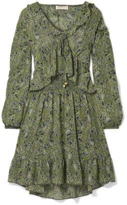 MICHAEL Michael Kors Ruffled Printed Chiffon Mini Dress - Green