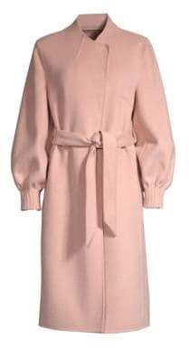Joie (ジョア) - Joie Joie Women's Mazie Peasant Sleeve Wool-Blend Trench Coat - Deep Kiss - Size Small