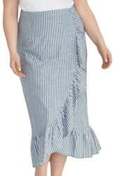 Rachel Roy Cruz Stripe Ruffle Cotton Wrap Skirt