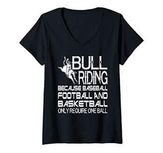 Womens Funny Bull Riding Rodeo Cowboy V-Neck T-Shirt