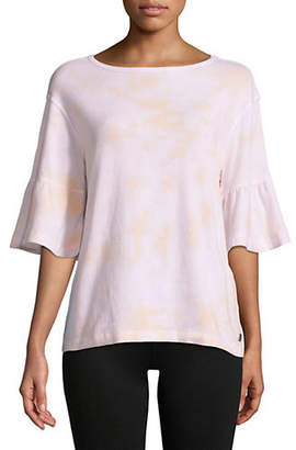 Calvin Klein Tie-Dyed Ruffled Bell-Sleeve Top
