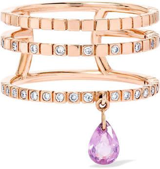 Diane Kordas Triple 18-karat Rose Gold, Sapphire And Diamond Ring - 6
