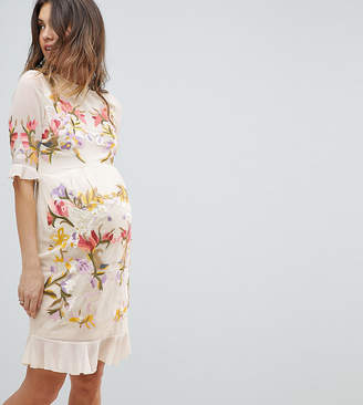 Hope & Ivy Maternity Premium All Over Floral Embroidered Mini Dress