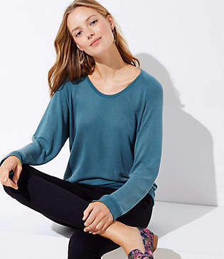 LOFT Petite Sandwashed Dolman Sweatshirt