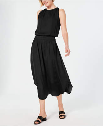 Alfani Smocked-Waist Satin Midi Dress