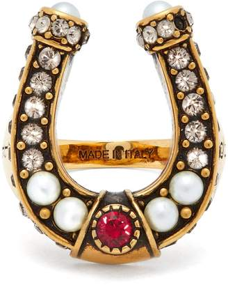 Alexander McQueen Faux-pearl and crystal-embellished horseshoe ring