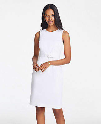 Ann Taylor Petite Tie Front Dress in Cotton Sateen