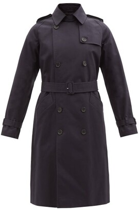 A.P.C. Greta Double Breasted Cotton Trench Coat - Womens - Dark Navy