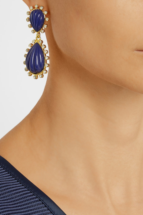 Kenneth Jay Lane Gold-plated, Swarovski crystal and resin drop earrings