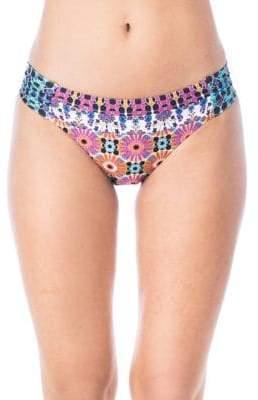 Trina Turk Golden Medallion Shirred Side Hipster Bikini Bottoms