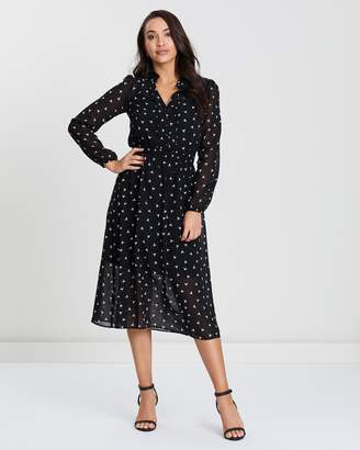 Oasis Bird Print Chiffon Blouse Dress