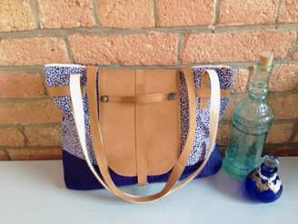 At Notonthehighstreet Buckle And Cog Handmade Leather Iris Fabric Bag