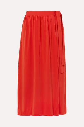 By Malene Birger Baccia Crepe Wrap Midi Skirt - Orange