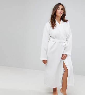 Asos Longer Midi Waffle Hotel Robe In 100% Cotton
