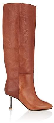 Maison Margiela Women's Metal-Heel Leather Knee Boots - Dk. brown