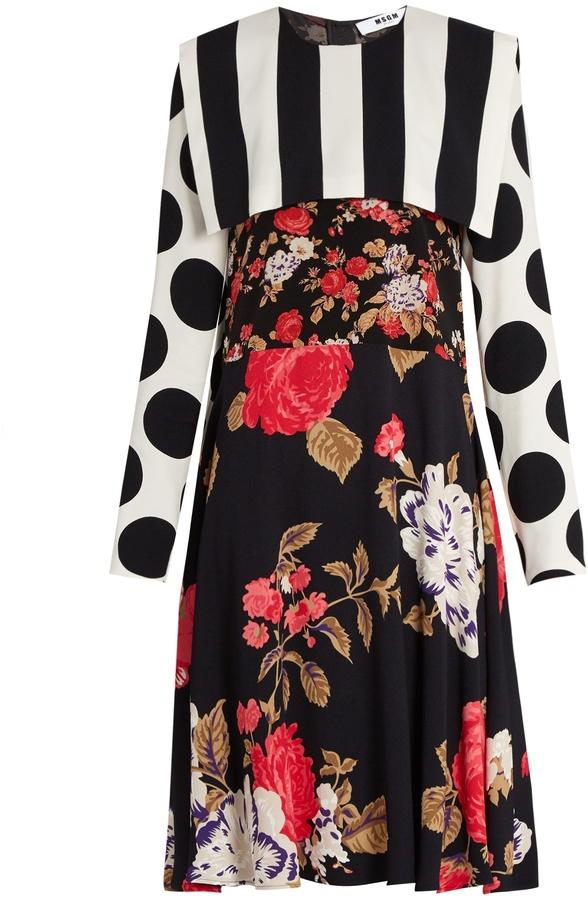 MSGM Floral, polka dot and stripe-print crepe dress