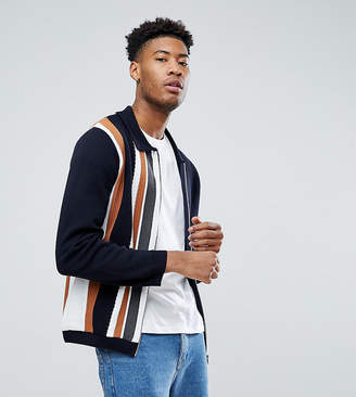 Asos DESIGN TALL Knitted Jacket In Milano Stitch With Vertical Stripe