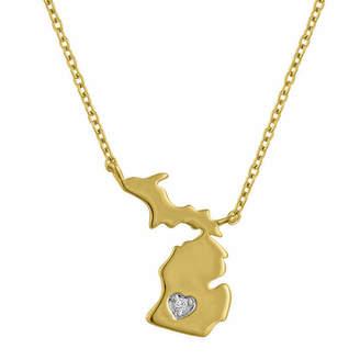 FINE JEWELRY Diamond Accent 14K Yellow Gold over Silver Michigan Pendant Necklace